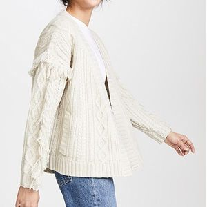 Madewell Fringe Cable Knit Cardigan, XS
